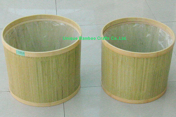 Outer door bamboo planter basket with plastic liner
