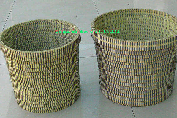 Indoor bamboo planter basket set of 2 pieces without liner