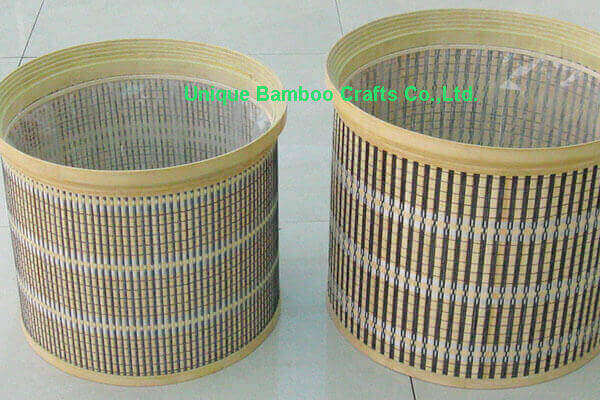 Eco-friendly bamboo planter basket set of 2 pieces with liner