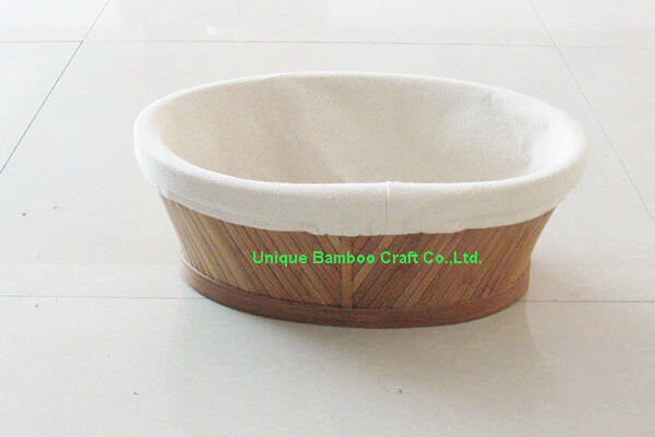Bamboo storage basket oval shape with cotton liner