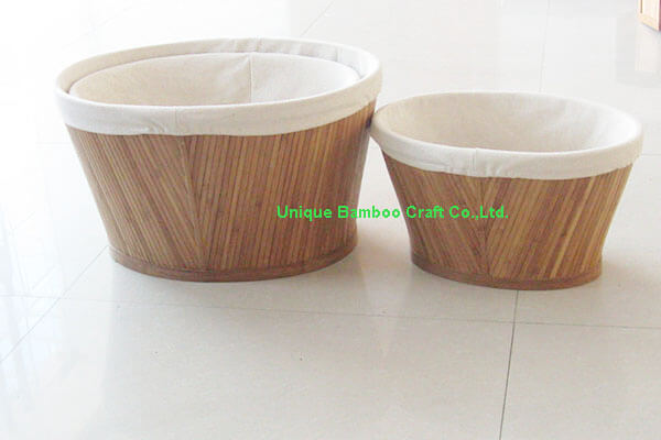 Natural bamboo storage basket with washable cotton liner