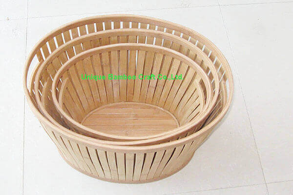 Eco-friendly bamboo storage basket with handle