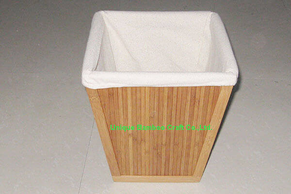 Natural bamboo storage bin with washable cotton liner