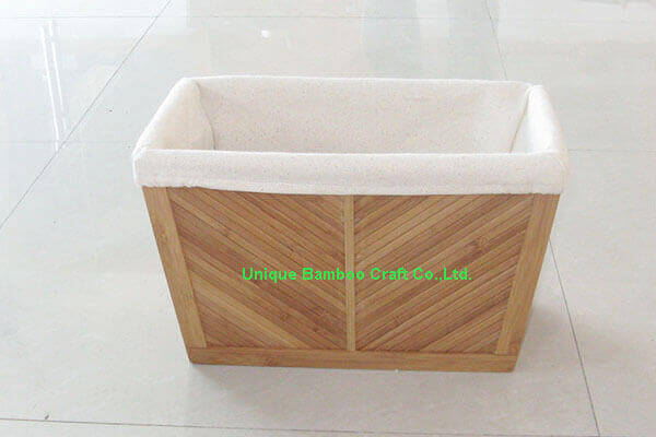 Sturdy bamboo storage box with washable cotton liner